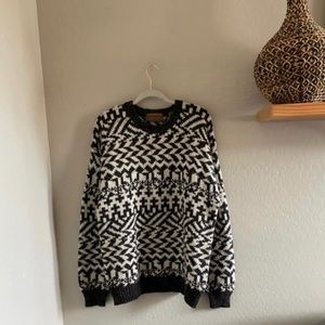 Vintage Oversized wool blend chunky sweater | L